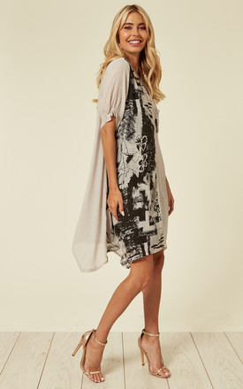 Oversized Cotton Shirt Dress with Abstract Nature Print in Grey by CY Boutique