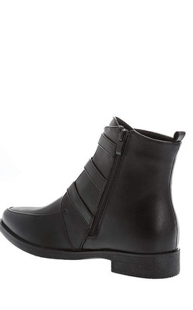 Triple Buckle Black Ankle Boots by WANTD