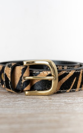 Tiger Print Pony Hair Leather Belt by hydestyle london