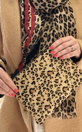 Leather Wristlet Clutch Bag in Leopard Print by hydestyle london