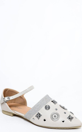 Grey Embellished Point Toe Flats by WANTD