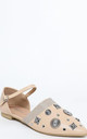 Apricot Embellished Point Toe Flats by WANTD