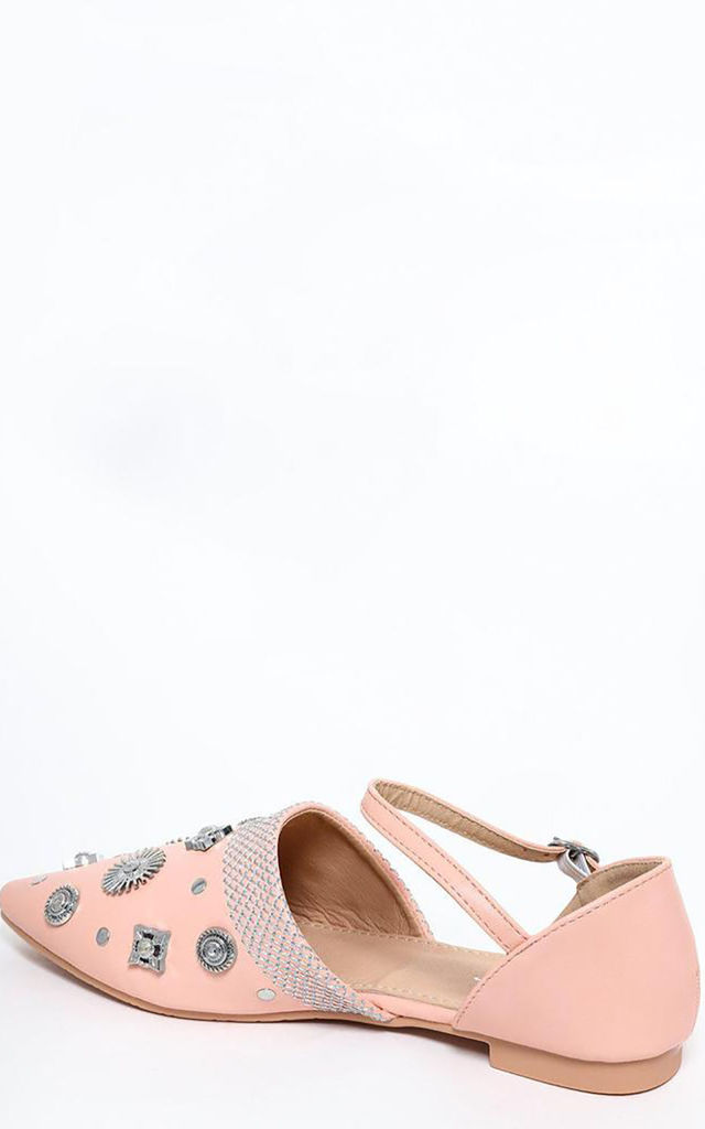 Pink Embellished Point Toe Flats by WANTD
