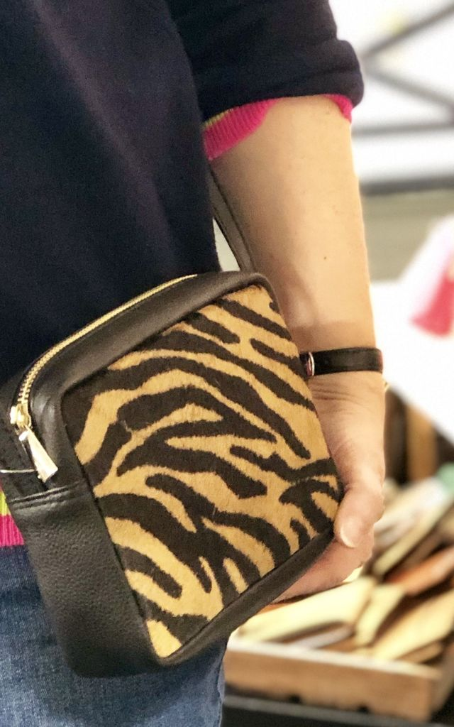 Leather Pony Hair Box Clutch in Tiger Print by hydestyle london