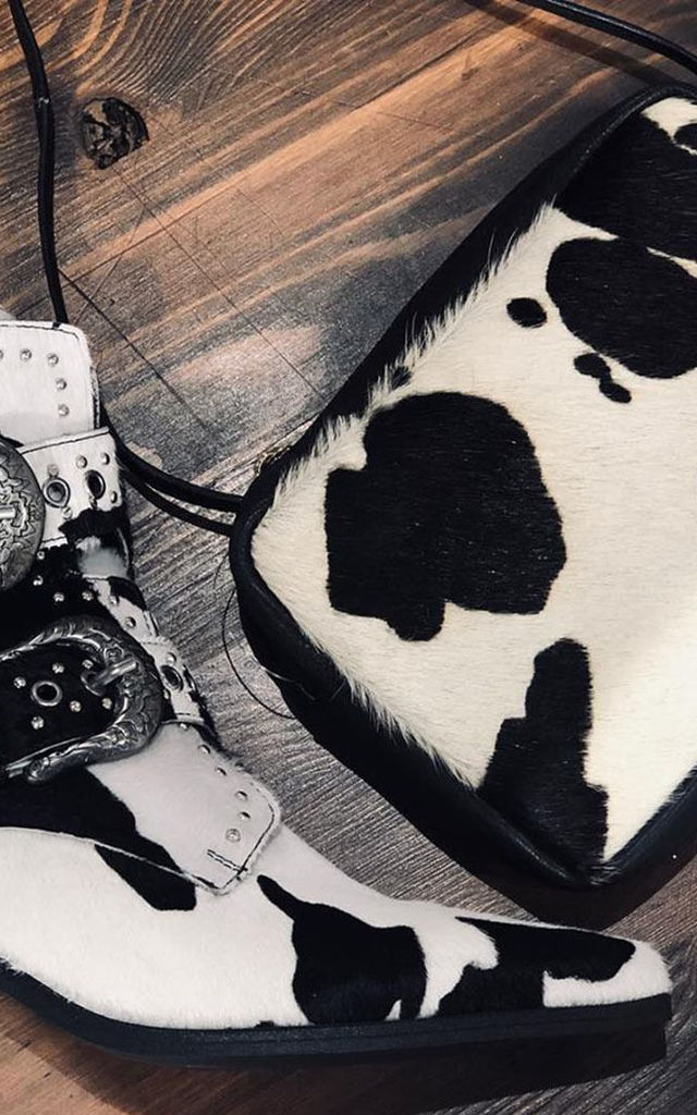 Leather Pony Hair Box Clutch in Cow Patch by hydestyle london