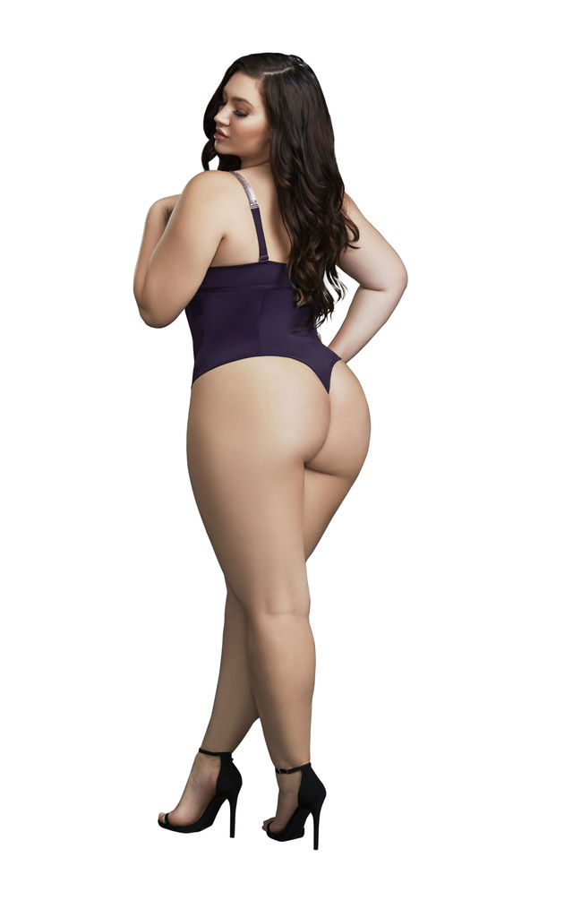Plus Size Bodysuit with Chain Straps in Purple by DREAMGIRL