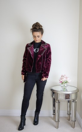 Velvet Biker Jacket With Studs by Styled Clothing Product photo