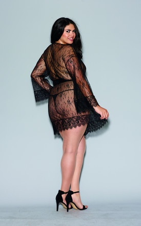 Plus Size Romantic Lace Long Sleeve Kimono Robe in Black by DREAMGIRL