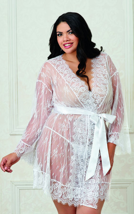 Plus Size Romantic Lace Long Sleeve Kimono Robe in White by DREAMGIRL