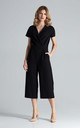 Short Sleeve Culotte Jumpsuit in Black by FIGL