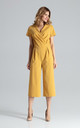 Short Sleeve Culotte Jumpsuit in Mustard by FIGL