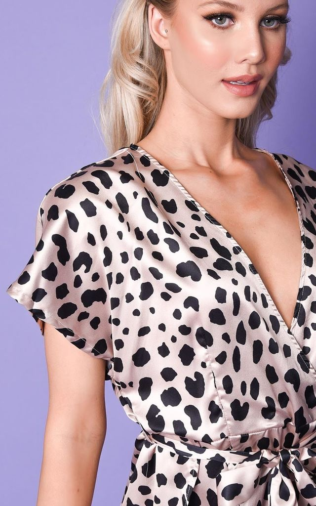 Satin dalmatian animal print split side mini dress beige by LILY LULU FASHION