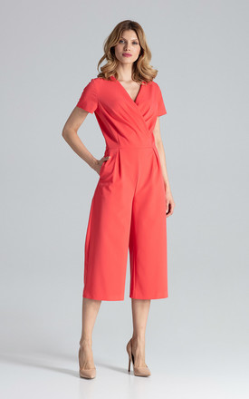 Short Sleeve Culotte Jumpsuit in Coral by FIGL