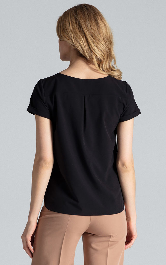 Short Sleeve Top with V Neck in Black by FIGL