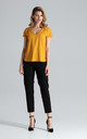 Short Sleeve Top with V Neck in Mustard Yellow by FIGL