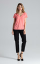 Short Sleeve Top with V Neck in Coral by FIGL