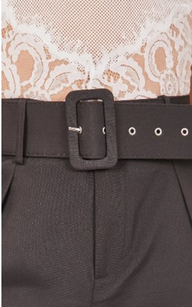Black Tailored Belted Cigarette Trousers by Hachu