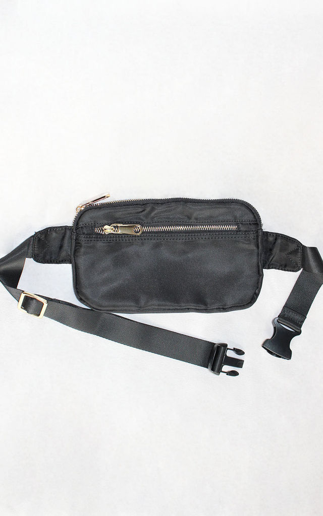 Black Bumbag With Gold Zip Detailing by Candypants