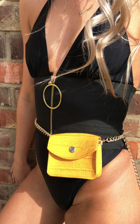 Mustard Mock Croc Mini Belt Chain Bag by Candypants