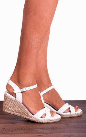 White Criss Cross Espadrilles Wedged Platforms Wedges Strappy Sandals by Shoe Closet Product photo