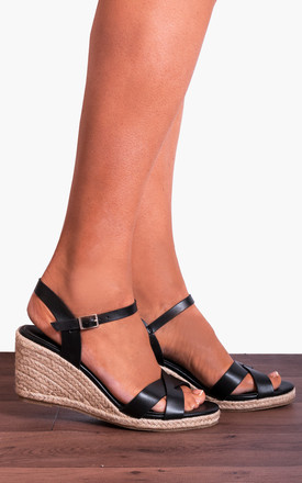 Black Criss Cross Espadrilles Wedged Platforms Wedges Strappy Sandals by Shoe Closet