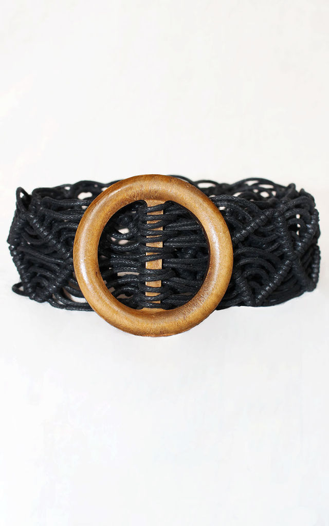 Woven Rope Belt with Wooden Buckle in Black by Candypants