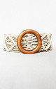 Woven Rope Belt with Wooden Buckle in Cream by Candypants