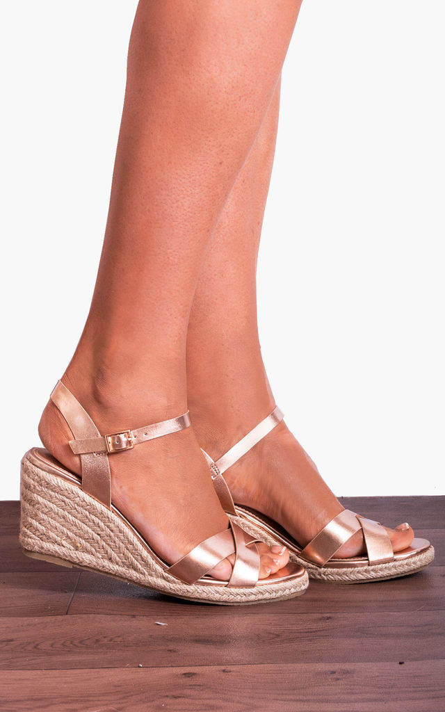 1ef2f76d743 Rose Gold Criss Cross Espadrilles Wedged Platforms Wedges Strappy Sandals  By Shoe Closet
