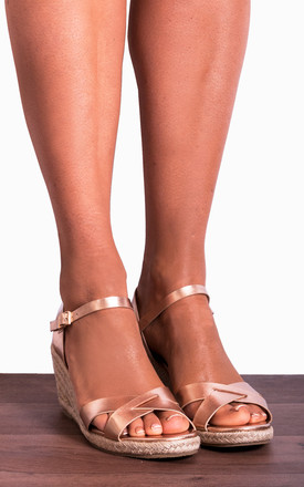 Rose Gold Criss Cross Espadrilles Wedged Platforms Wedges Strappy Sandals by Shoe Closet
