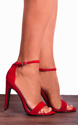 Red Stilettos Ankle Strap peep Toes Strappy Sandals High Heels by Shoe Closet