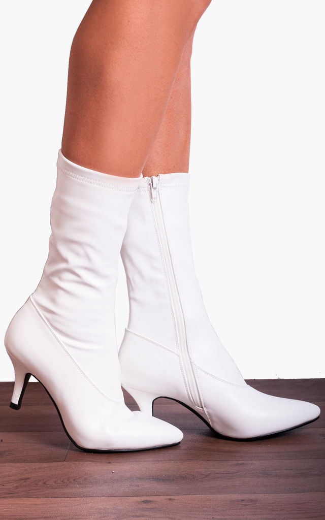 White Faux leather Sock Stretch Kitten Heel Ankle Boots by Shoe Closet