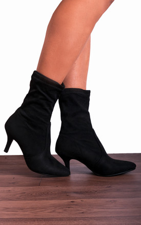 Black Pull On Sock Stretch Kitten Heel Ankle Boots by Shoe Closet Product photo