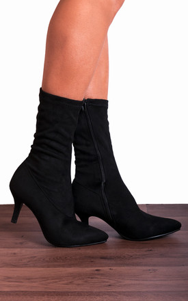 Black Sock Stretch Kitten Heel Ankle Boots by Shoe Closet Product photo