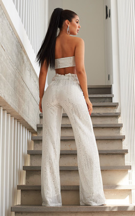 White Mirror Sequin Belted High Waisted Wide Leg Trousers by Club L London
