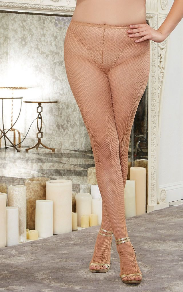 Plus Size Fishnet Tights with Back Seam in Nude by DREAMGIRL