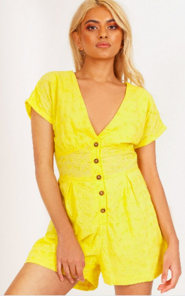 Eyelet Button Up Playsuit by Hachu