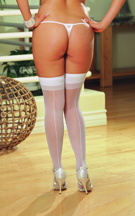 Plus Size Sheer Thigh High Stockings with Plain Top and Back Seam... by DREAMGIRL