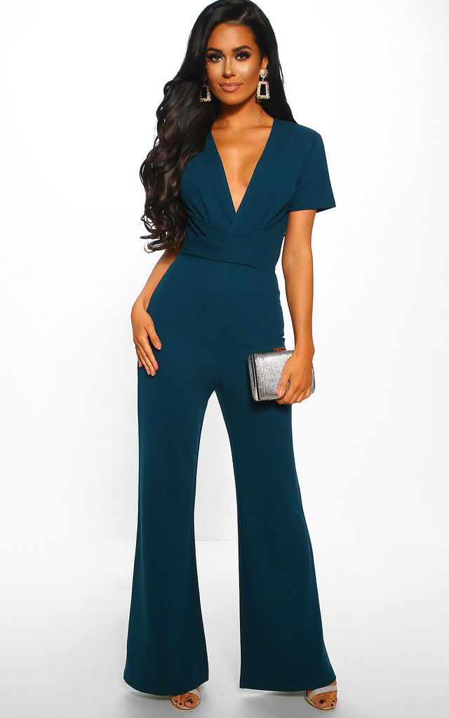 Let You Love Me Green Wrap Wide Leg Jumpsuit by Pink Boutique
