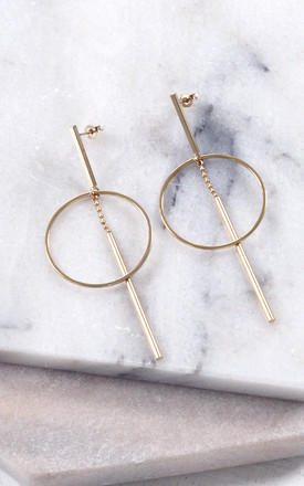 IONA. Minimal Geometric Gold Drop Earrings by Aluna Mae