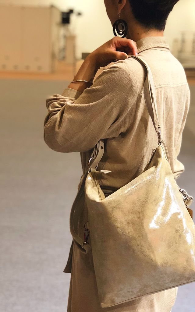Metallic Multi Purpose Bag in Metallic Silver Beige by hydestyle london