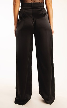 "Satin Straight Leg Trousers....PETIT.... ""Boundless Black"" by Storm Label"