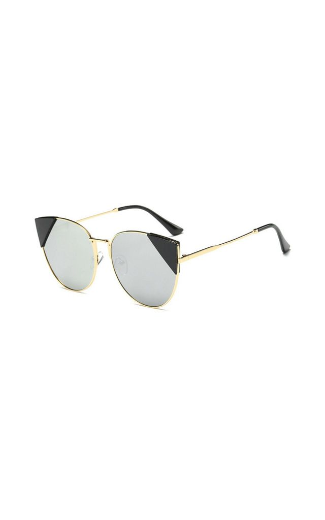 Stephanie Cat Eye Mirror Silver Sunglasses by Don't Be Shady