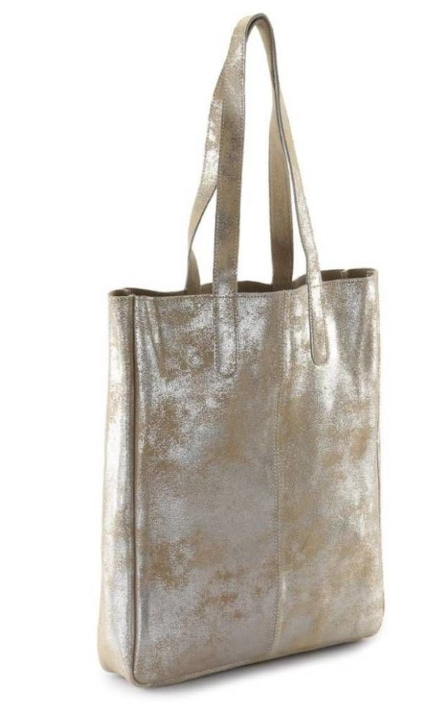 Sofia Metallic Leather Tote Bag in Silver/Beige by hydestyle london