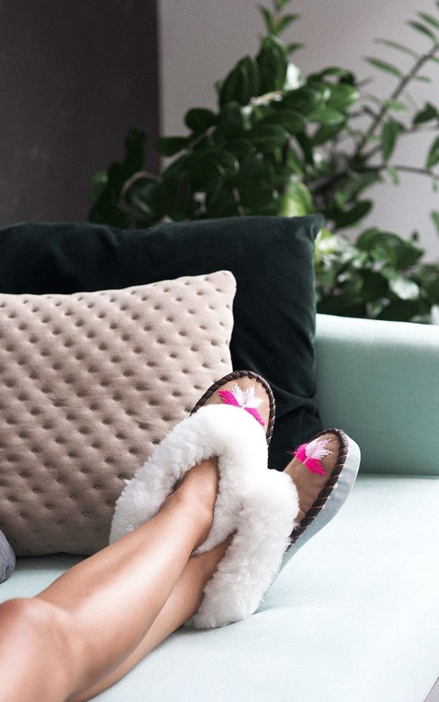Sen Embroidered Sheepskin Slippers in Pink by Sheepers