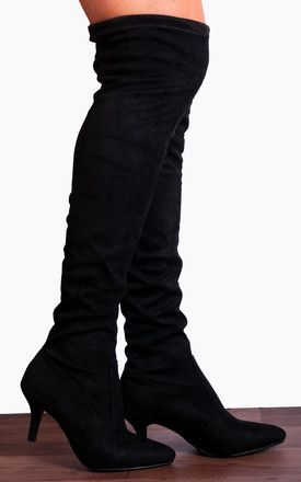 Black Sock Stretch Kitten Heel Over The Knee Boots by Shoe Closet Product photo