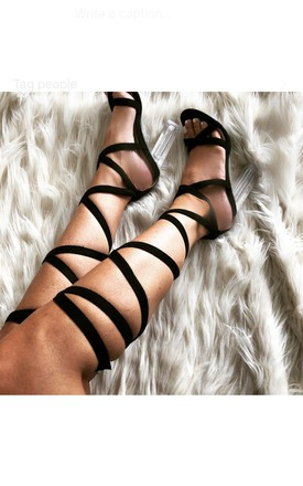 Cara Lace Up Perspex Heels in Black Faux Suede by Poised London