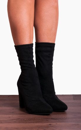 Black Stretch Sock Pull On Zip Ankle High Heels Boots by Shoe Closet