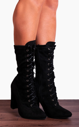 b1565e5b2eb3f Black Stretch Sock Laces Ups Ankle High Heels Boots by Shoe Closet Product  photo