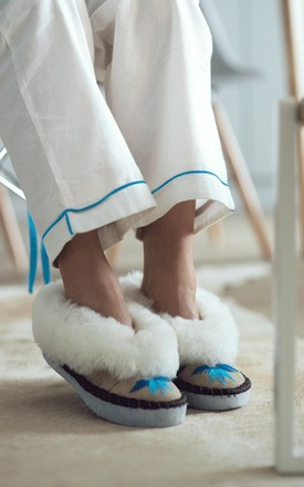 Sen Embroidered Sheepskin Slippers in Turquoise by Sheepers