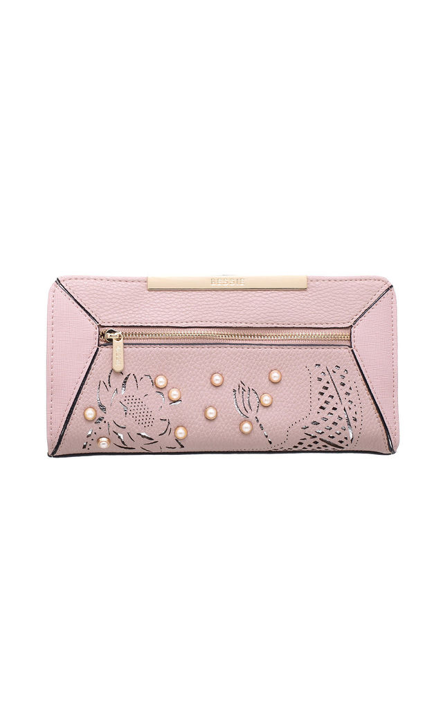 PEARL STUDDED FLORAL LASER CUT PURSE in PINK by BESSIE LONDON